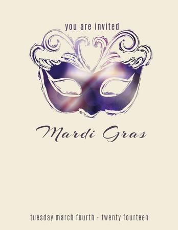 Mooie mardi gras masker flyer sjabloon Stock Illustratie