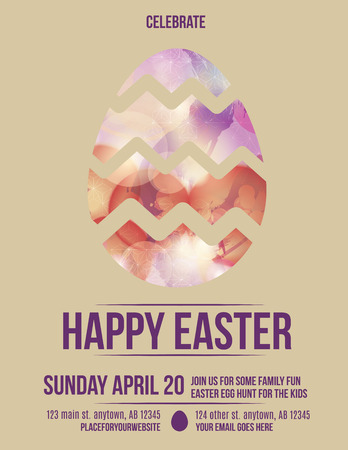 Beautiful easter egg flyer invitation  Vector