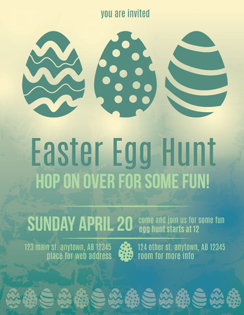 Beautiful Easter egg hunt invitation flyer Vector