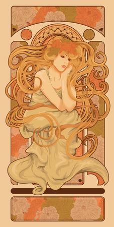 古美術品: アール ヌーボー スタイルの長い流れるヘアー デザインを持つ女性