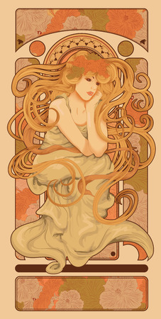 flower art: Art Nouveau stile donna con lunghi capelli fluenti disegno