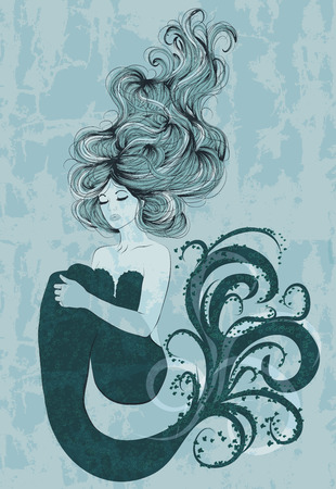 mermaid: hand drawn mermaid design Illustration