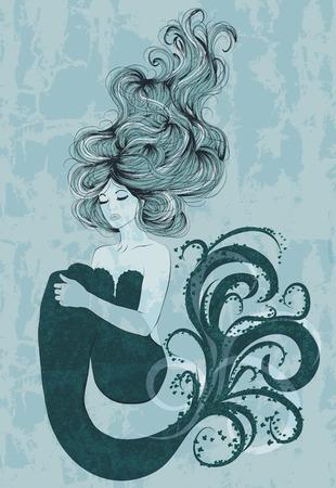 hand drawn mermaid design Illustration