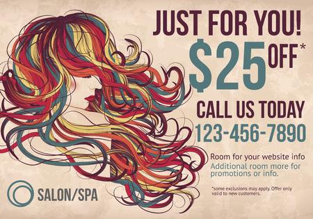 Salon ansichtkaart met coupon korting advertentie toont mooie vrouw met lang kleurrijk haar