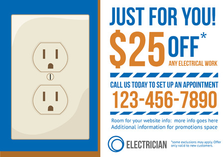 Electrician contractor postcard with coupon discount advertisement Vector