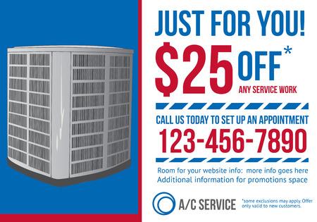 HVAC airconditioning aannemer ansichtkaart met coupon korting advertentie Stockfoto - 33280180