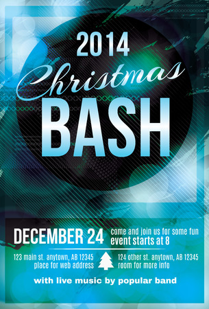 bash: Funky dark blue Christmas bash party invitation flyer