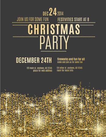holiday party: Glittering Gold Christmas party invitation flyer