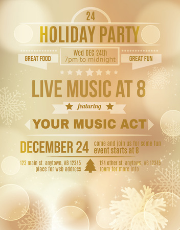 holiday background: Soft Gold Holiday party invitation flyer