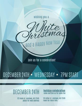 Eenvoudige en elegante White Christmas party flyer uitnodiging