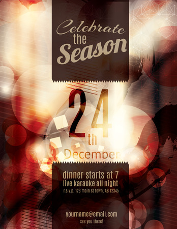 holiday celebrations: Beautiful red grunge blurry christmas holiday party invitation