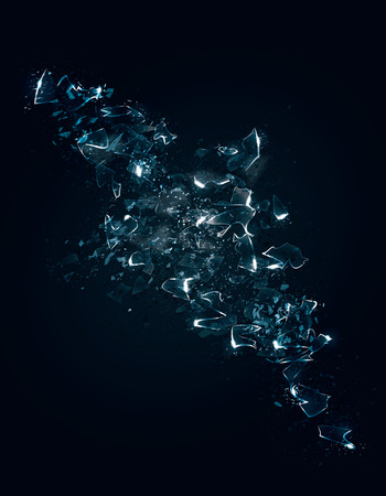 An abstract representation of some exploding shattered glass or ice with particle effects. Vector Illustration.