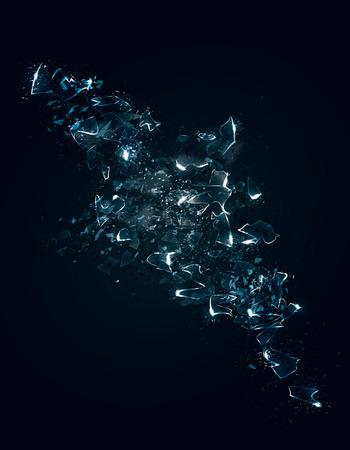 Een abstracte voorstelling van een aantal exploderende gebroken glas of ijs met particle effects. Vector Illustratie.