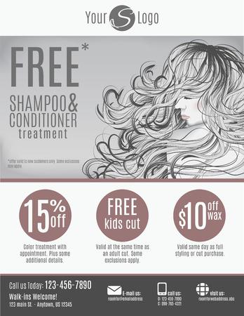 Salon flyer sjabloon met kortingsbonnen en reclame met mooie vrouw met lang haar in het zwart en wit