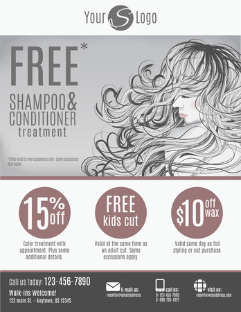 hair salon: Salon flyer template with discount coupons and advertisement showing beautiful woman with long hair in black and white