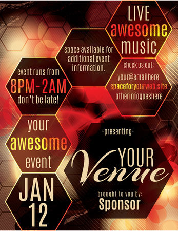 live music: Red polygon themed flyer for a night club event Illustration