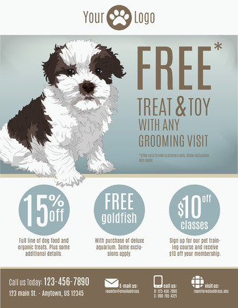 Flyer template for a pet store or groomer with discount coupons and advertisement featuring a cute puppy. Vector