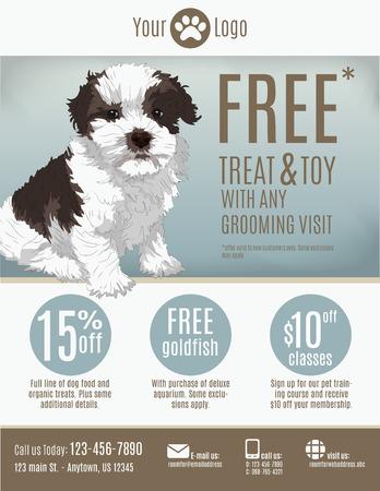 Modello Flyer per un negozio di animali o battipista con buoni sconto e pubblicità che caratterizzano un cucciolo carino. Archivio Fotografico - 35072910