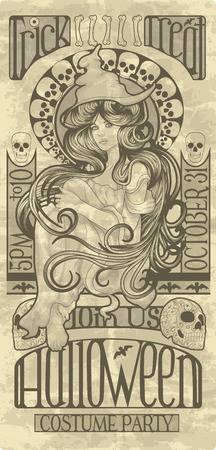 pin up: Beautiful witch design in an art nouveau style for Halloween Illustration
