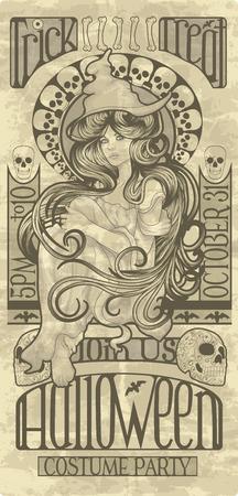 pin up vintage: Bella strega di design in stile art nouveau per Halloween