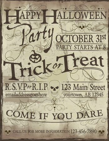 halloween spider: Fun hand lettering Happy Halloween party invitation template