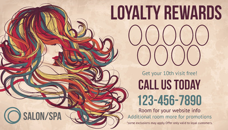 Salon customer loyalty card showing beautiful woman with long colorful hair Ilustracja