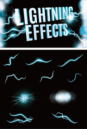 fx: Set of Vector glowing special lightning effects for design
