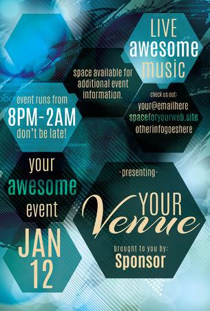 Blue Ice veelhoek thema flyer voor een nachtclub evenement