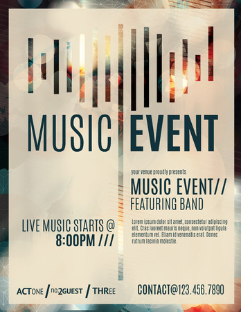 brochure template: Abstract light effect flyer for a live music event