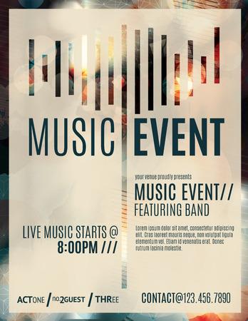 Resumen de efectos de luz flyer para un evento de música en vivo