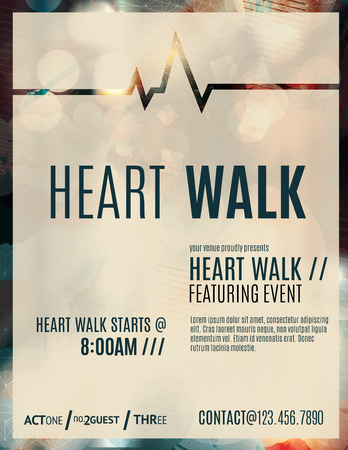 fundraiser: Modern and classy flyer or poster template design layout to promote a heart walk fundraiser