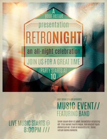 Abstract licht effect flyer template lay-out met retro-stijl badge reclame een live muziek evenement Stock Illustratie