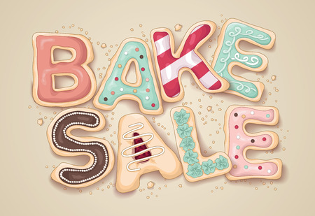 events: Hand drawn lettering that says Bake Sale in the shape of delicious and colorful cookies