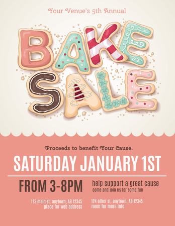 Hand drawn type that says Bake Sale in the shape of delicious and colorful cookies on a flyer, brochure, poster template layout.