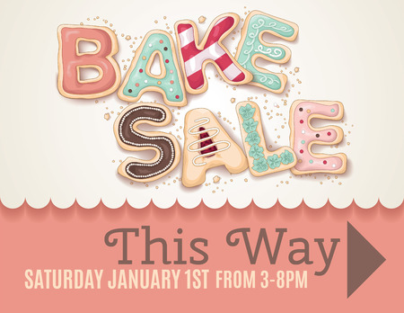 poster designs: Hand drawn type that says Bake Sale in the shape of delicious and colorful cookies on a flyer or poster sign template to show direction to the sale. Illustration