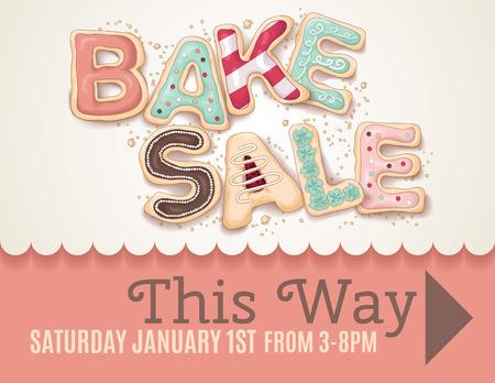 Tipo che dice Bake Sale a forma di deliziosi e colorati biscotti su un modello di volantino o poster segno per mostrare la direzione alla vendita Disegno a mano. Archivio Fotografico - 35186988