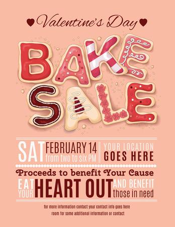Hand getrokken ingericht cookies die Bake Sale voor een Valentijnsdag promotie op een flyer, brochure, poster sjabloon lay-out zeggen. Stockfoto - 35186989