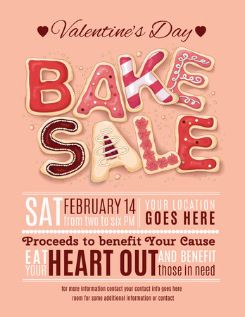 Hand drawn decorated cookies that say Bake Sale for a Valentine\'s Day promotion on a flyer, brochure, poster template layout. Illustration