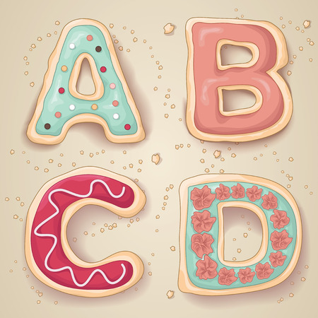 Hand drawn letters of the alphabet A through D in the shape of delicious and colorful cookies Vectores