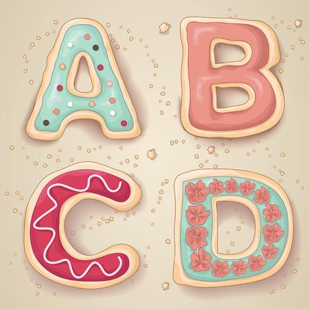 Hand getrokken letters van het alfabet A tot en met D in de vorm van heerlijke en kleurrijke cookies