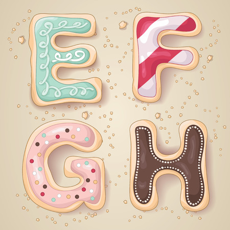 e alphabet: Hand drawn letters of the alphabet E through H in the shape of delicious and colorful cookies Illustration