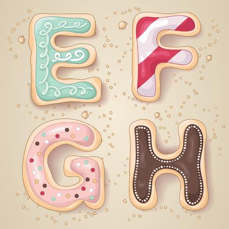 Hand getrokken letters van het alfabet E tot en met H in de vorm van heerlijke en kleurrijke cookies