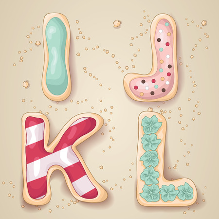 Hand drawn letters of the alphabet I through L in the shape of delicious and colorful cookies Vectores