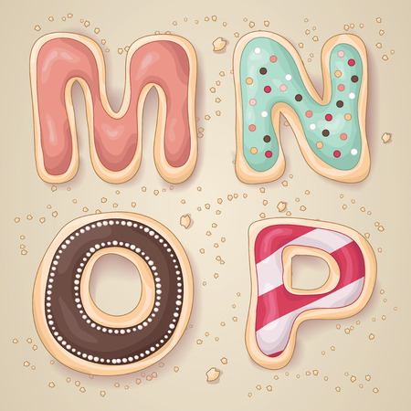 Hand drawn letters of the alphabet M through P in the shape of delicious and colorful cookies