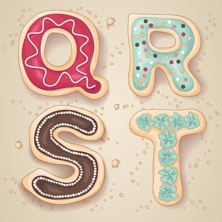 Hand getrokken letters van het alfabet Q via T in de vorm van heerlijke en kleurrijke cookies