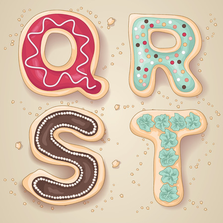 Hand drawn letters of the alphabet Q through T in the shape of delicious and colorful cookies