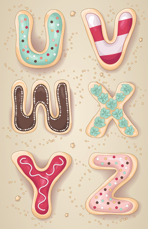 Hand drawn letters of the alphabet U through Z in the shape of delicious and colorful cookies