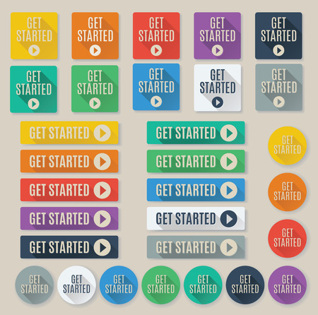 Set of flat web buttons with call to action text that says get started.  Buttons feature popular color palette for flat UI designs and long drop shadows.