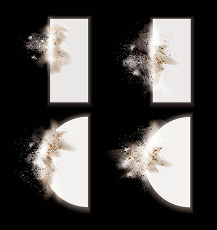 Collection of vector explosion effect design elements with particles and dust on a dark background ready to add to your own text or design.