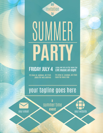 techno: Modern style summer party flyer template Illustration